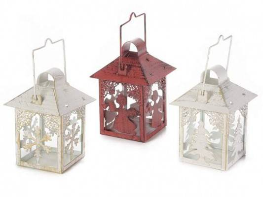 Set 3 Pieces Christmas Lanterns in Metal Candle Holder
