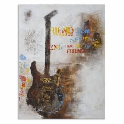 Dipinto Su Tela Guitar Art Cm 90X3