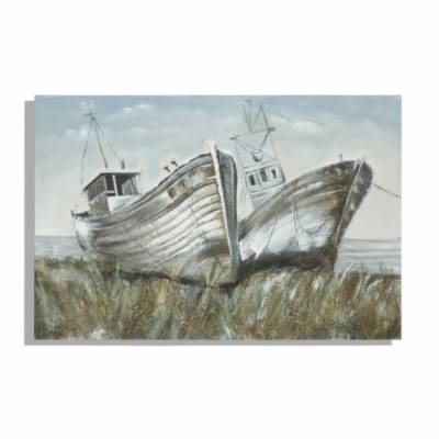 Dipinto Su Tela Barche Cm 120X3