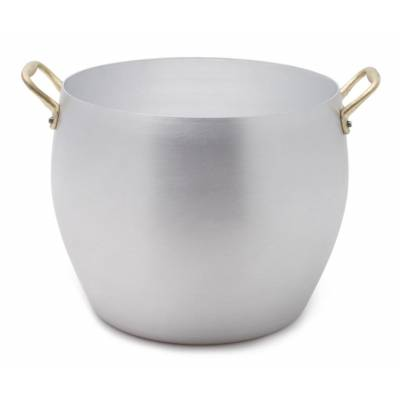 Rounded Aluminum Pan with Brass Handles - 2