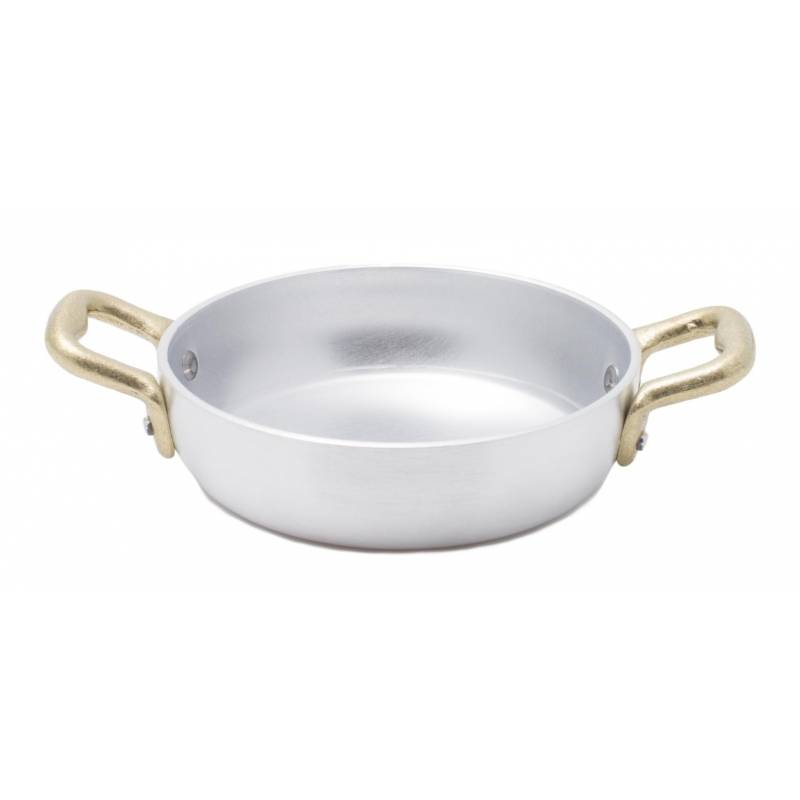 Aluminum Pan with 2 Brass Handles - Vintage Style - Made in Italy