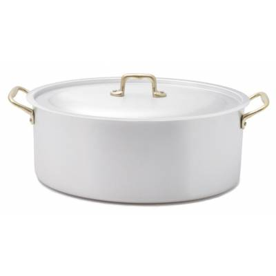 Professional Oval Casserole Two Brass Handles with Lid