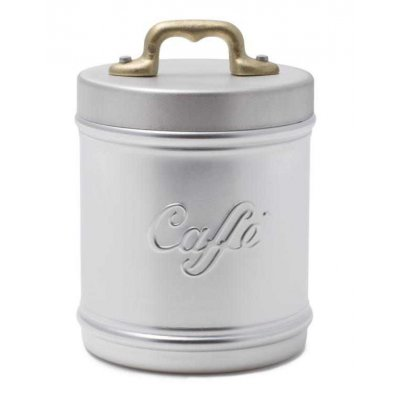 Aluminum Jar / Container with Coffee Lettering and Lid - Brass Handle - Vintage Style - 10 cm