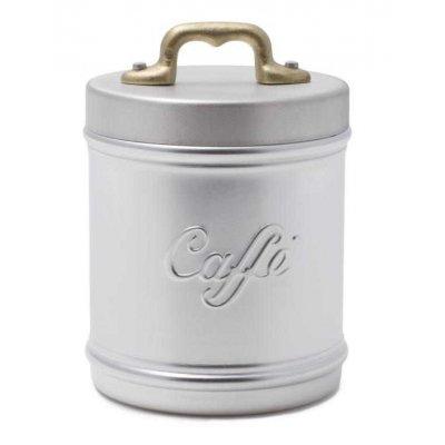 Pot / récipient en aluminium avec lettrage de café et couvercle - poignée en laiton - style vintage - 10 cm