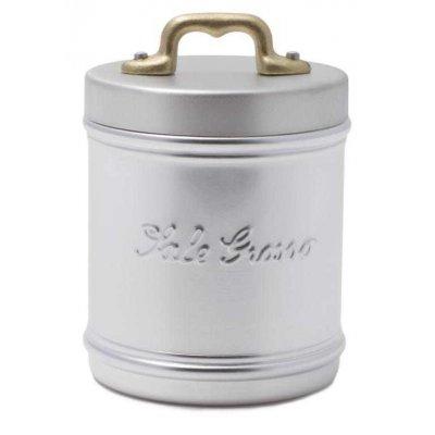 Aluminiumbehälter / Glas mit Sale Grosso Schrift - Deckel und Griff aus Messing - Retro Style