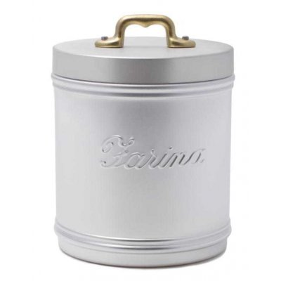 Aluminiumglas für Mehl mit Schild - Deckel und Messinggriff - Vintage Style