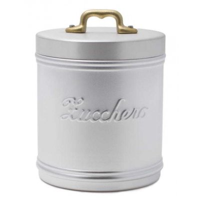 Aluminum Sugar Jar with Writing - Lid with Brass Handle in Vintage Style