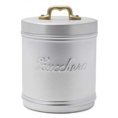 Pot à Sucre en Aluminium avec Ecriture - Couvercle avec Poignée en Laiton - Vintage Style