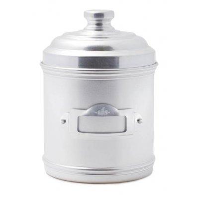 Barattolo da Cucina in Alluminio con Coperchio e Porta Etichetta cm 13